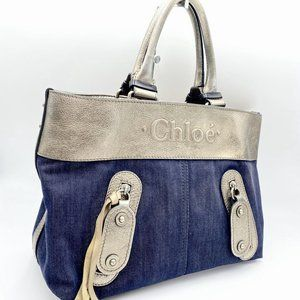Chloe Denim + Leather Tote Bag ☕🍂
